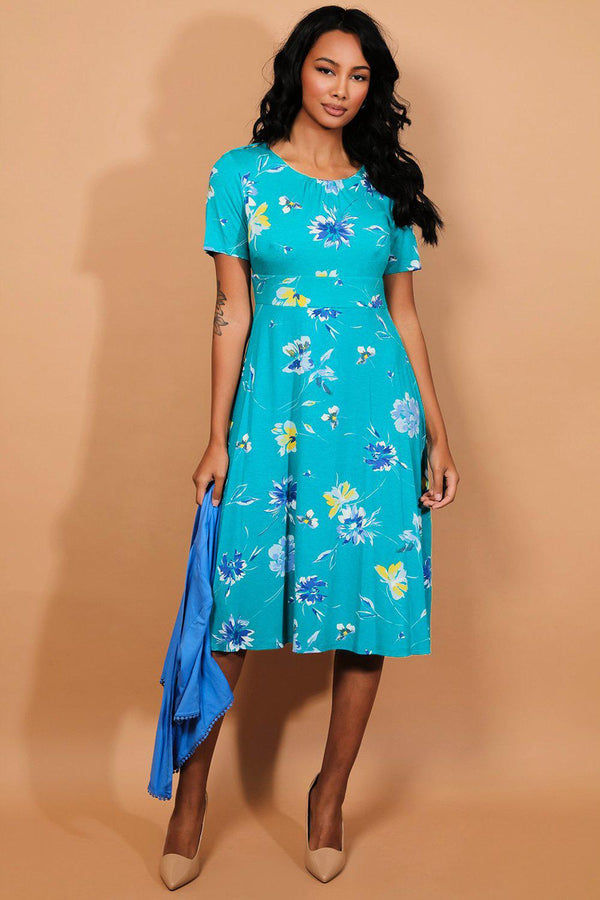 Blue Green Floral Midi Dress And Cardigan Set - SinglePrice