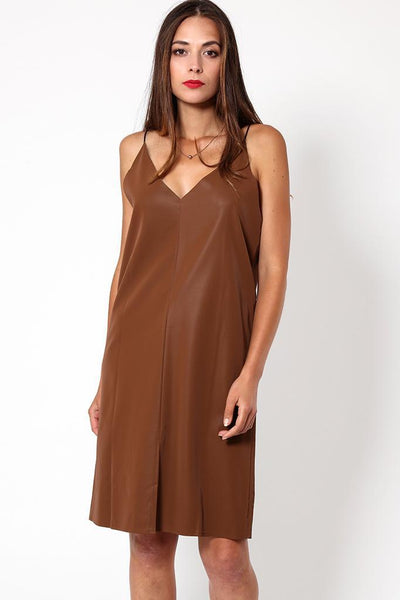 Brown Wet Suede Look Strappy Dress-SinglePrice