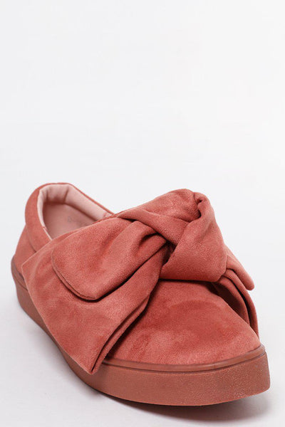Large Bow Pink Slip On Shoes-SinglePrice