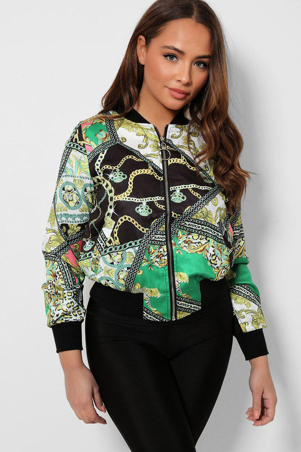 Green Mixed Chain Print Thin Satin Bomber