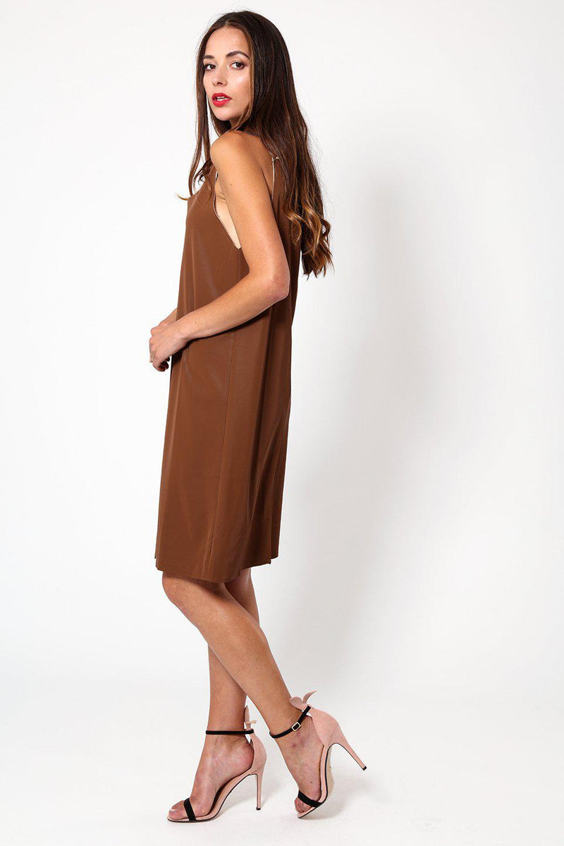 Brown Wet Suede Look Strappy Dress - SinglePrice