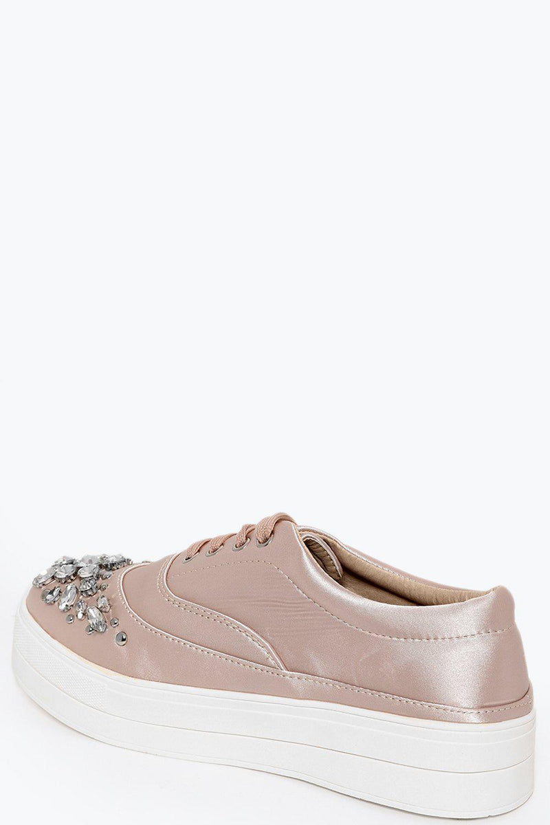 Jewells Embellished Beige Satin Trainers - SinglePrice