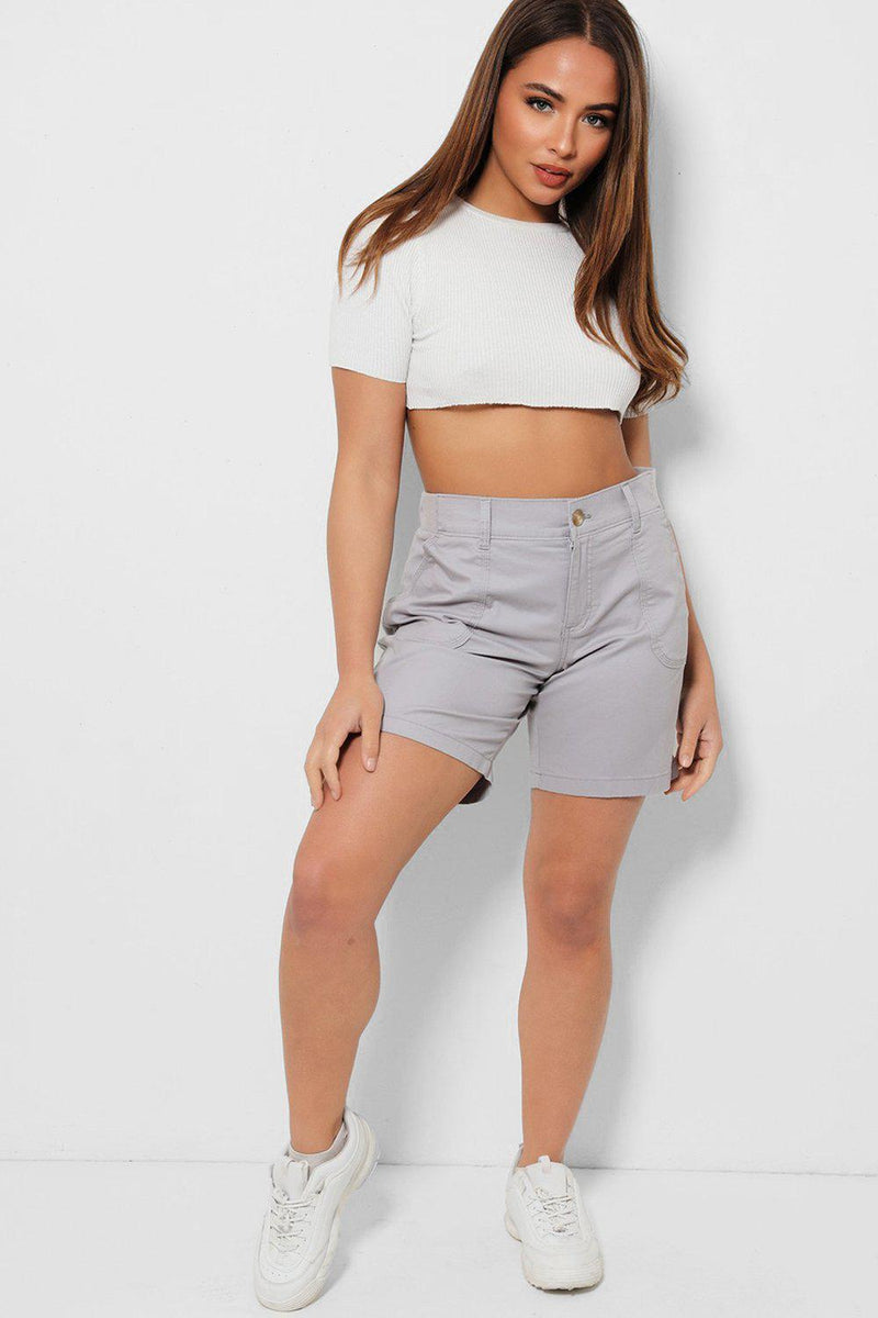 Light Grey Highwaisted Bermuda Shorts - SinglePrice