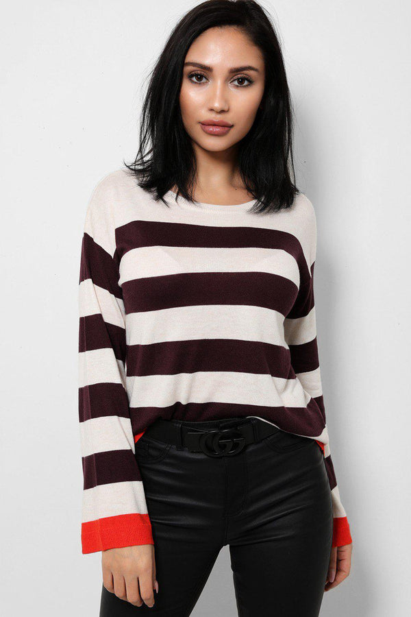 Cream Flute Sleeves Flat Knit Jumper In Stripes - SinglePrice