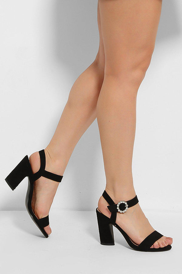 Black Crystal Ankle Strap Detail Curved Block Heel Sandals - SinglePrice