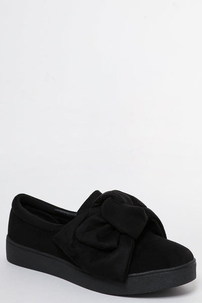 Large Bow Black Slip On Shoes-SinglePrice