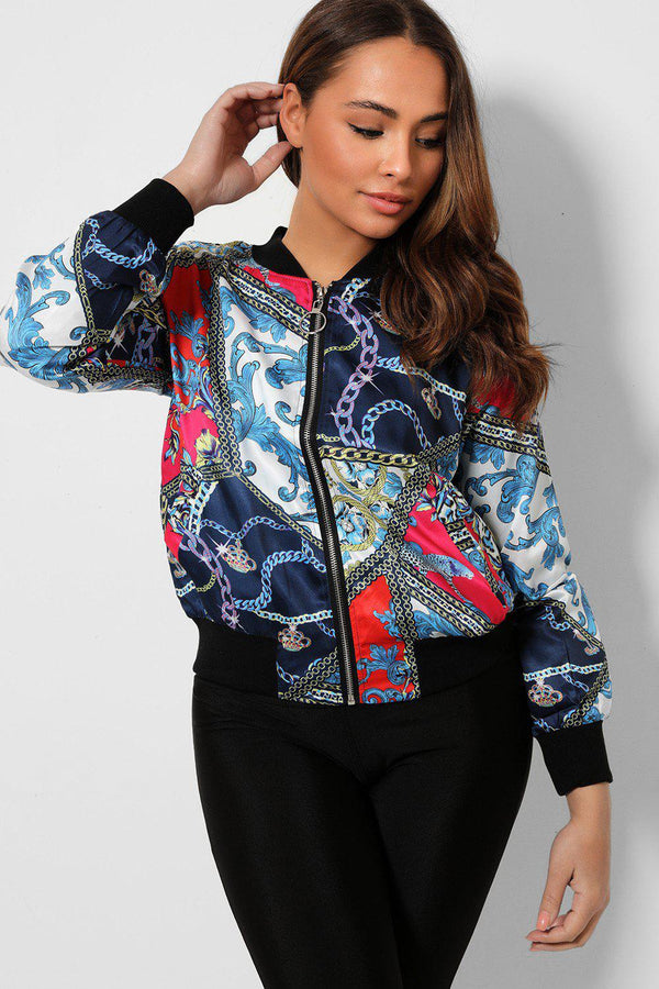 Blue Mixed Chain Print Thin Satin Bomber