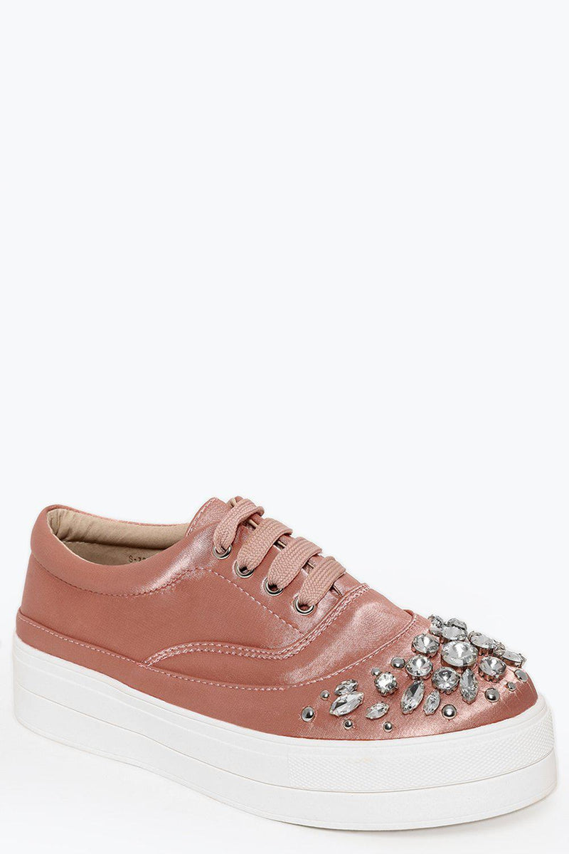 Jewells Embellished Pink Satin Trainers - SinglePrice