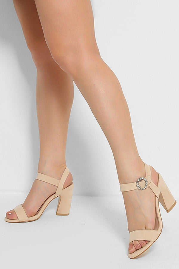 Beige Crystal Ankle Strap Detail Curved Block Heel Sandals - SinglePrice