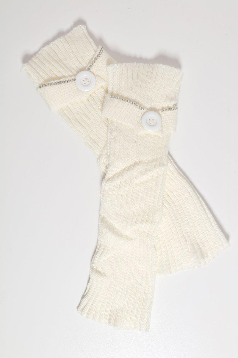 Large Button And Crystals Embellished Knitted White Leg Warmers - SinglePrice