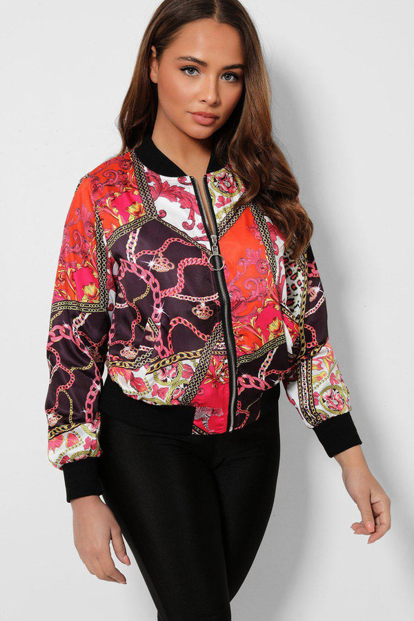 Rose Mixed Chain Print Thin Satin Bomber