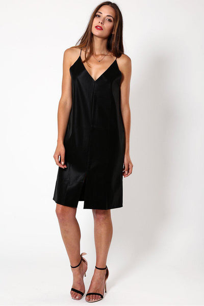 Black Wet Suede Look Strappy Dress-SinglePrice