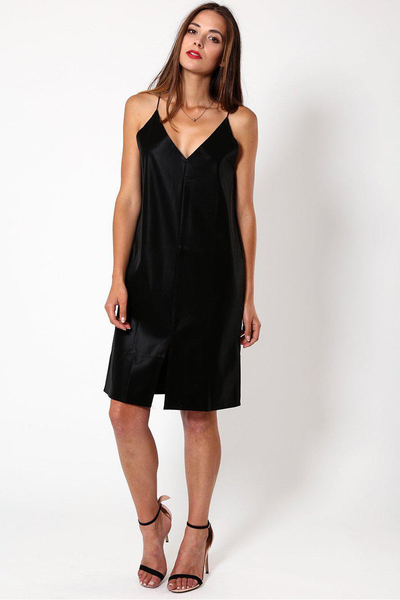 Black Wet Suede Look Strappy Dress - SinglePrice