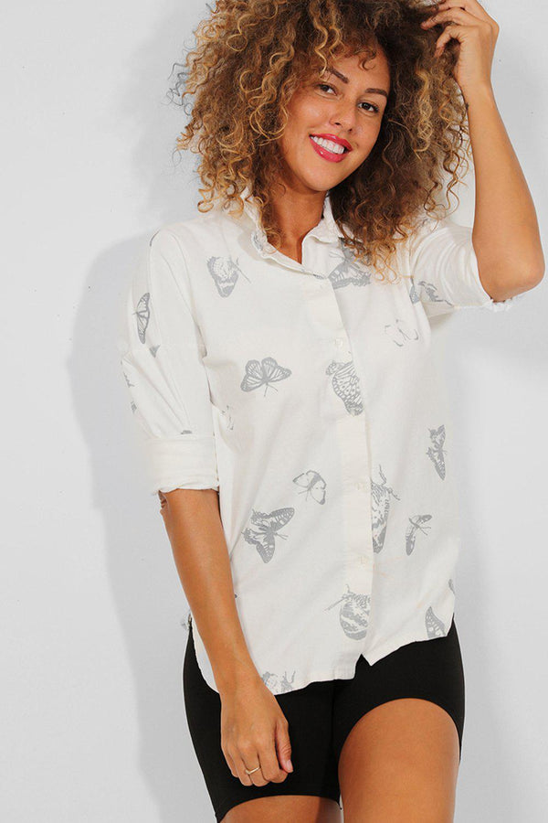 White Butterflies Print Ribbed Vegan Suede Shirt - SinglePrice