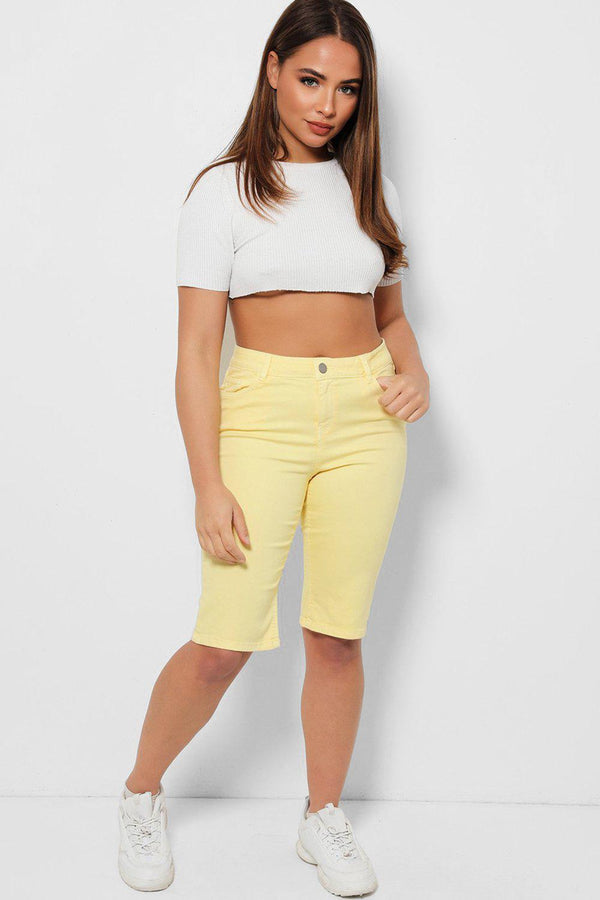 Yellow Denim Bicycle Shorts - SinglePrice