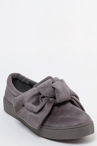 Large Bow Grey Slip On Shoes-SinglePrice