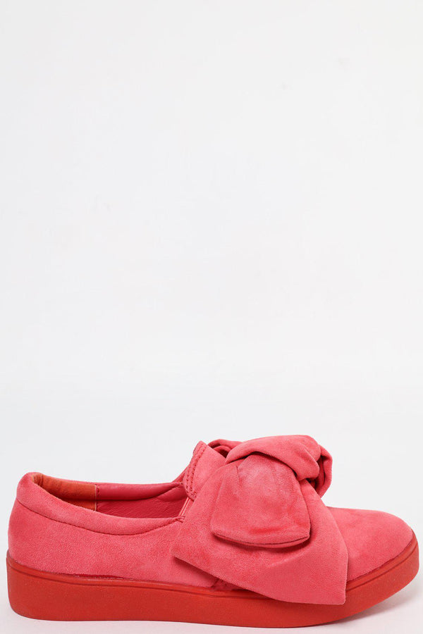 Large Bow Fuchsia Slip On Shoes - SinglePrice
