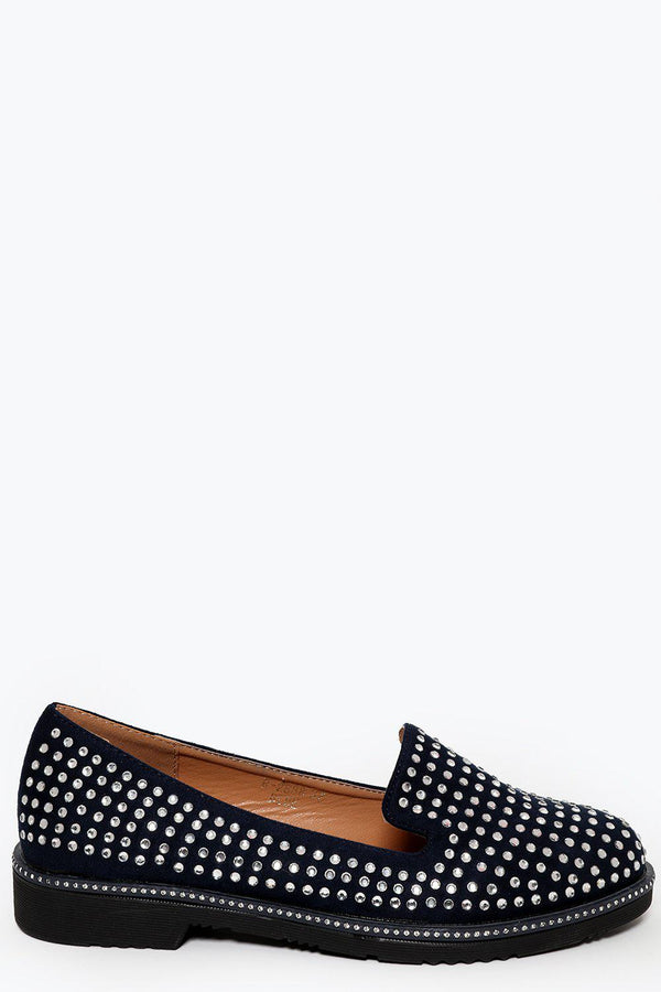 Crystals Embellished Navy Loafer Flat Shoes-SinglePrice