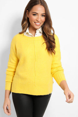 Yellow Front Seam Lazy Fit Flat Knit Pullover - SinglePrice