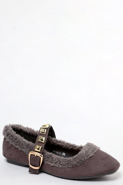 Studded Strap Grey Faux Shearling Mary Jane Flats-SinglePrice