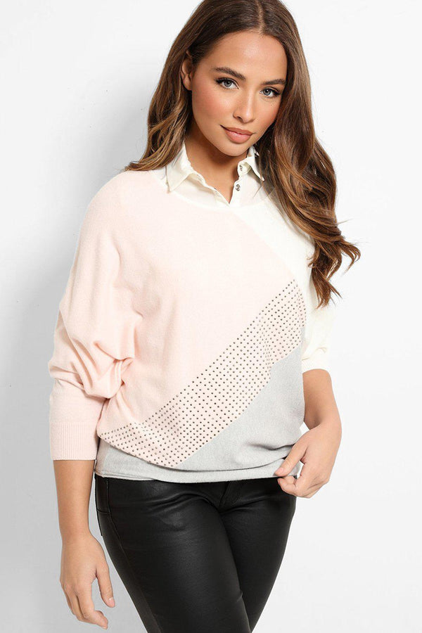Pink Grey Colour-Blocking Studded Panel Pullover - SinglePrice