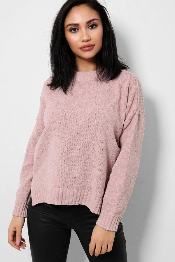 Pink Relaxed Fit Bleached Velvet Knit Jumper