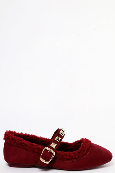 Studded Strap Wine Faux Shearling Mary Jane Flats-SinglePrice