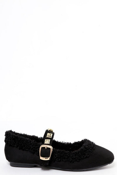 Studded Strap Black Faux Shearling Mary Jane Flats-SinglePrice