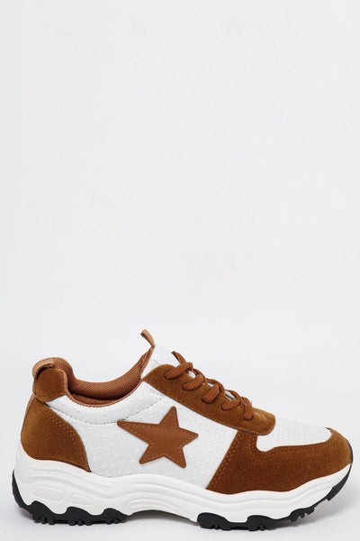 Camel Suedette Platform Trainers With Star-SinglePrice