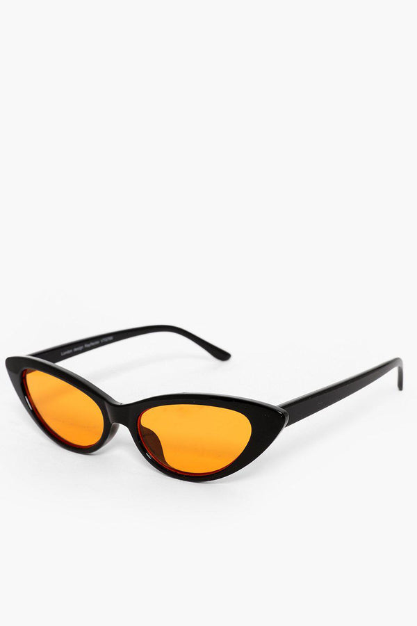 Orange Lens Black Skinny Sunglasses-SinglePrice