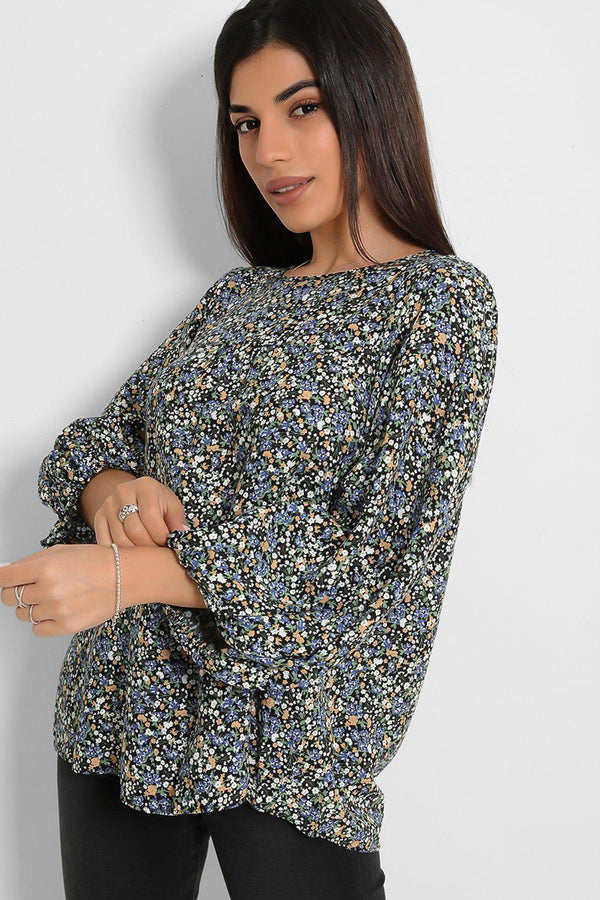Blue Floral Print Balloon Sleeves Top - SinglePrice