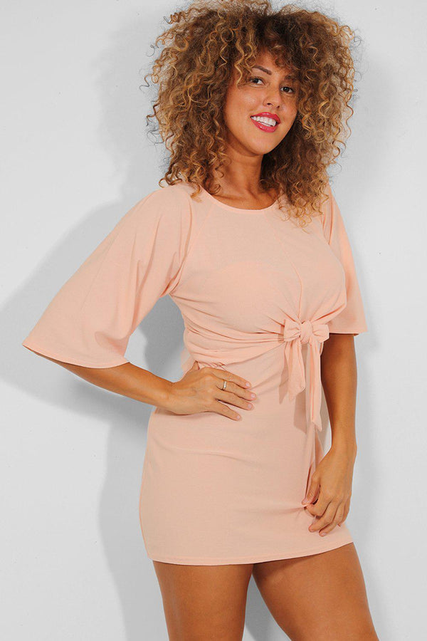 Peach Front Tie Mini Dress - SinglePrice