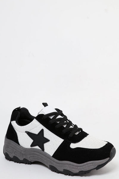 Black Suedette Platform Trainers With Star-SinglePrice