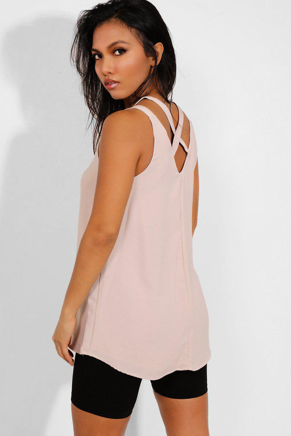 Beige V-Neck Crisscross Back Chiffon Top - SinglePrice