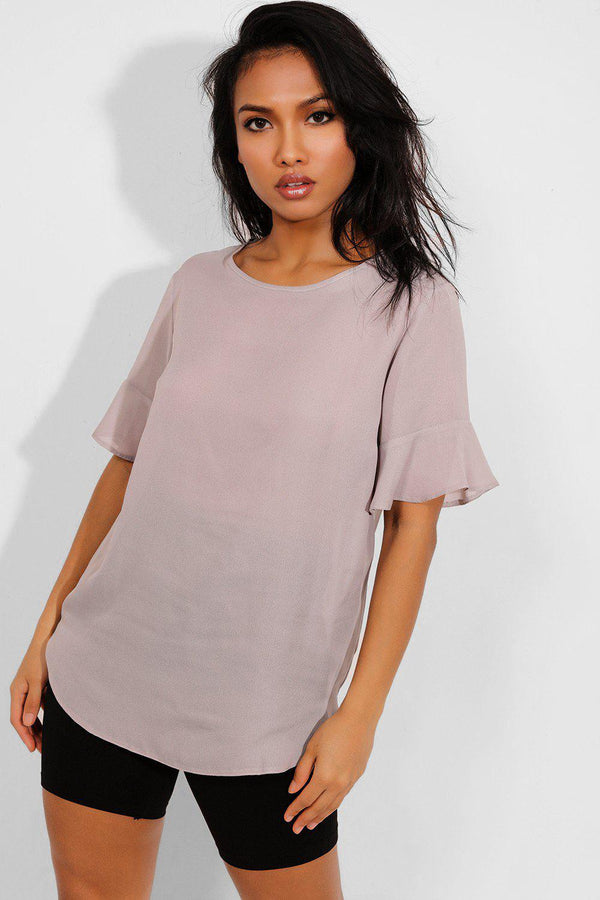 Grey Relaxed Fit Frill Sleeves Top - SinglePrice