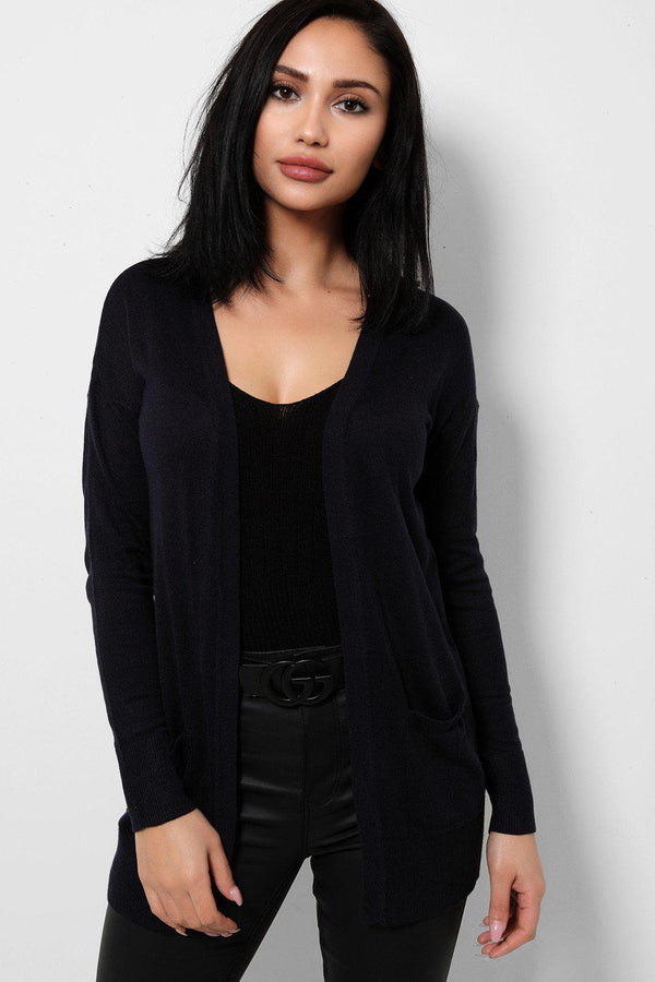 Lightweight Knit Navy Open Front Cardigan