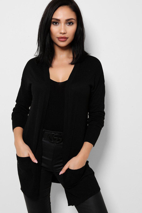 Lightweight Knit Black Open Front Cardigan