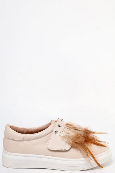 Studs & Feathers Embellished Cream Plimsoles-SinglePrice