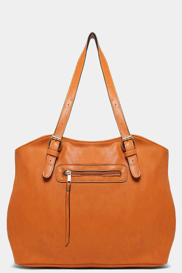 Tan Hourglass Vegan Leather Handbag - SinglePrice