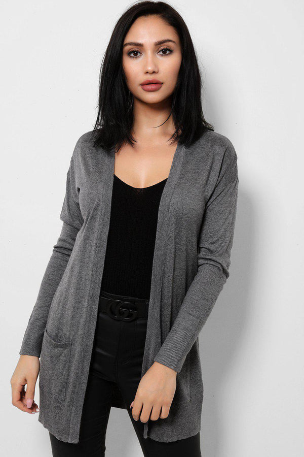 Lightweight Knit Grey Open Front Cardigan