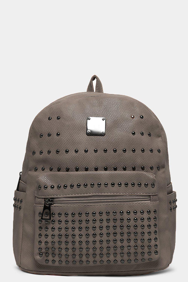 Grey Studded Textured Vegan Leather Upper Backpack - SinglePrice