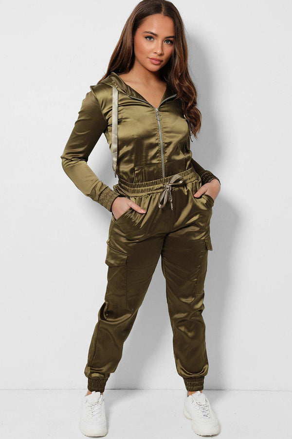 Army Green Satin 2 Piece Tracksuit