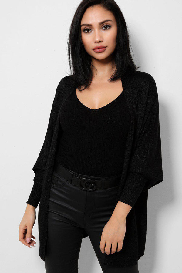 Shimmer Knit Black Batwing Open Front Cardigan