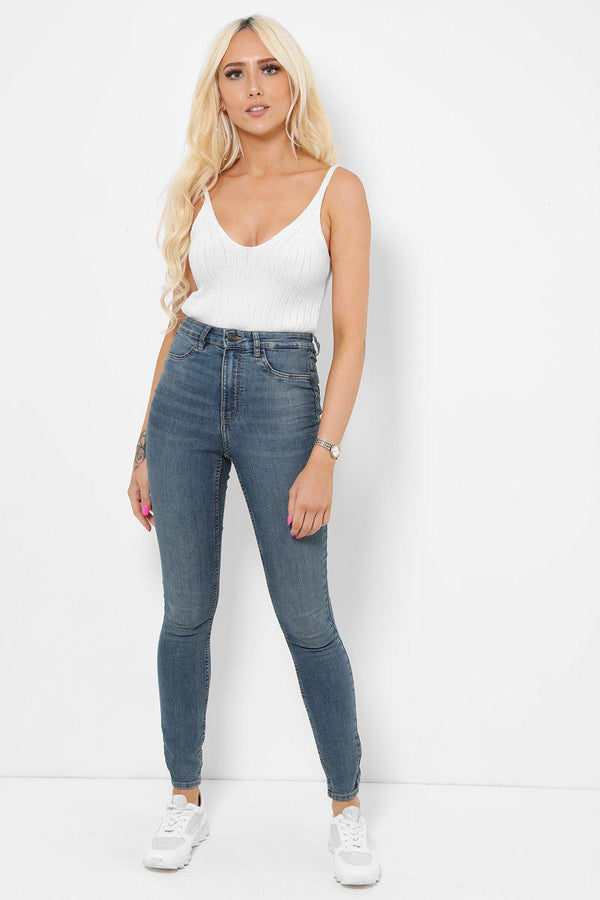 High Waisted Faded Blue Mid Skinny Jeans-SinglePrice