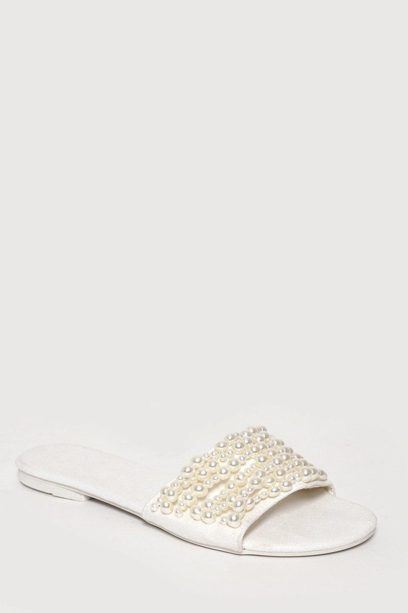 White Pearls Embellished Slipper Flats - SinglePrice