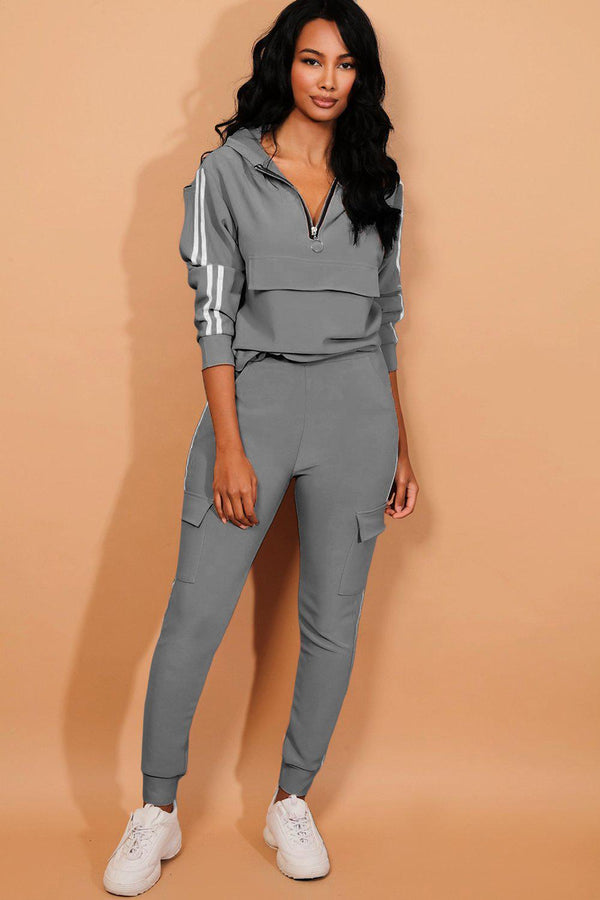 Grey Twin Strip Faux Utility Pockets Tracksuit