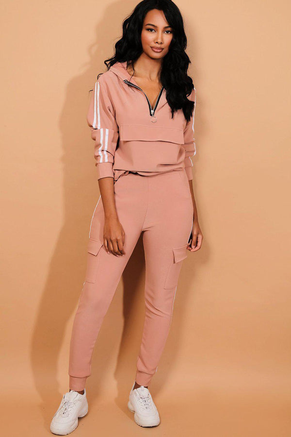 Pink Twin Strip Faux Utility Pockets Tracksuit