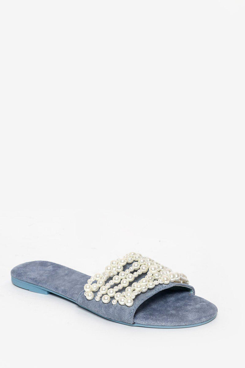 Blue Pearls Embellished Slipper Flats - SinglePrice