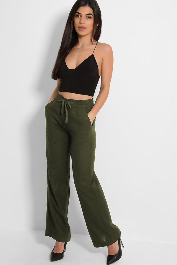 Khaki Linen Blend Wide Leg Lightweight Trousers - SinglePrice