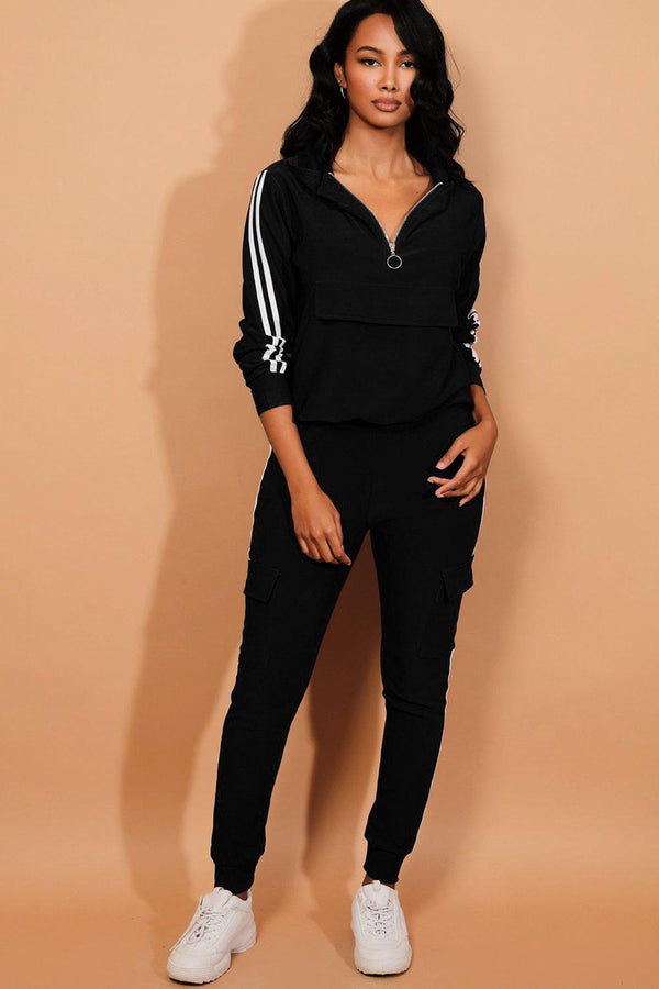 Black Twin Strip Faux Utility Pockets Tracksuit